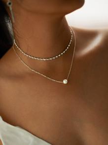 Collier en strass avec pendentif de perle fausse 2 pièces