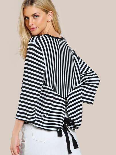 Striped Quarter Sleeve Back Tie Top BLACK