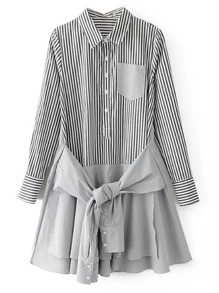 Contrast Hem Knot Front Vertical Striped Shirt Dress