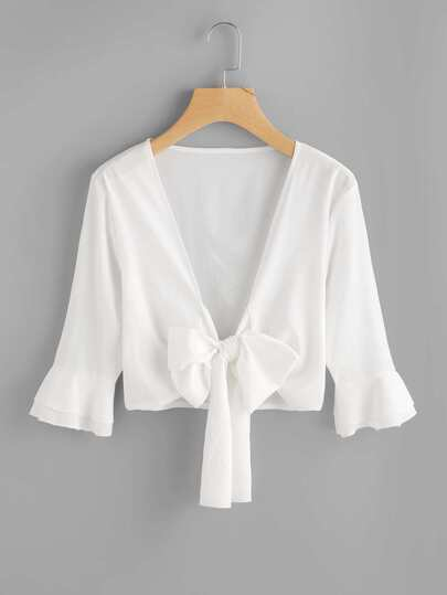 Tiered Sleeve Bow Tie Front Top