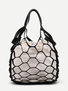 Net Design Drawstring Tote Bag