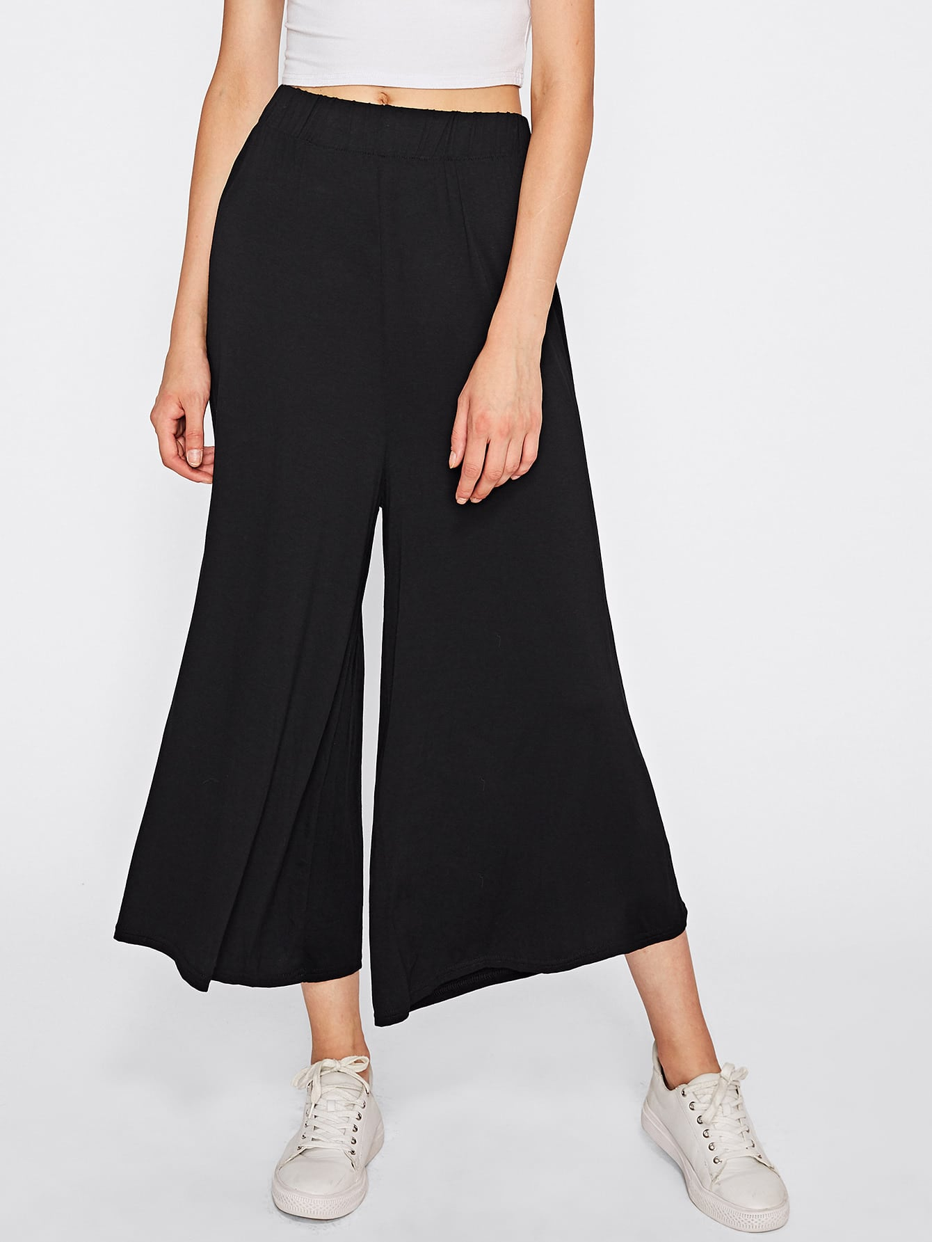 Wide Leg Elastic Waist Pants elastic ruched waist wide leg pants