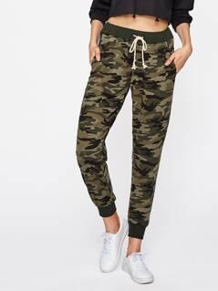 Drawstring Waist Camouflage Sweatpants