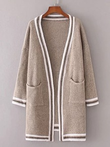 Contrast Binding Drop Shoulder Open Front Sweater Coat