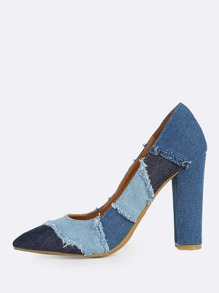 Denim Patchwork Point Toe Heels BLUE DENIM