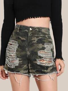 Sequin Pocket Camo Shorts CAMO GOLD