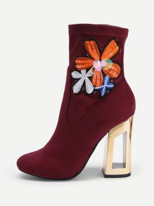 Flower Embroidery Clear Heeled Boots