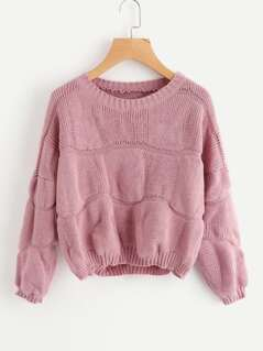 Ribbed Trim Textured Sweater