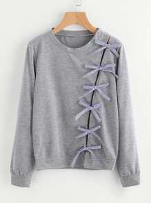 Bow Tie Detail Marled Sweatshirt