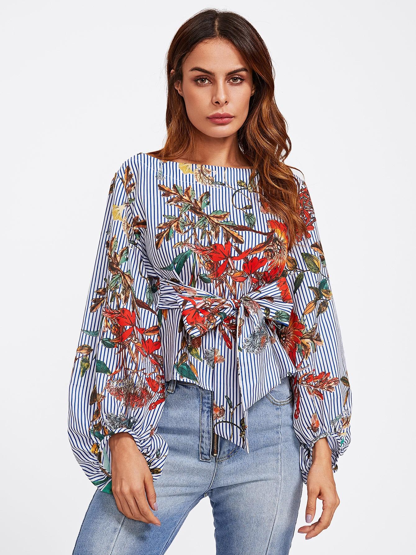Купить Модная блуза с поясом и принтом, рукав-фонарик, Andy, SheIn