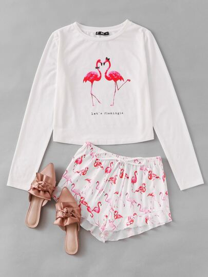 Flamingo Print Tee And Ruffle Shorts Pajama Set