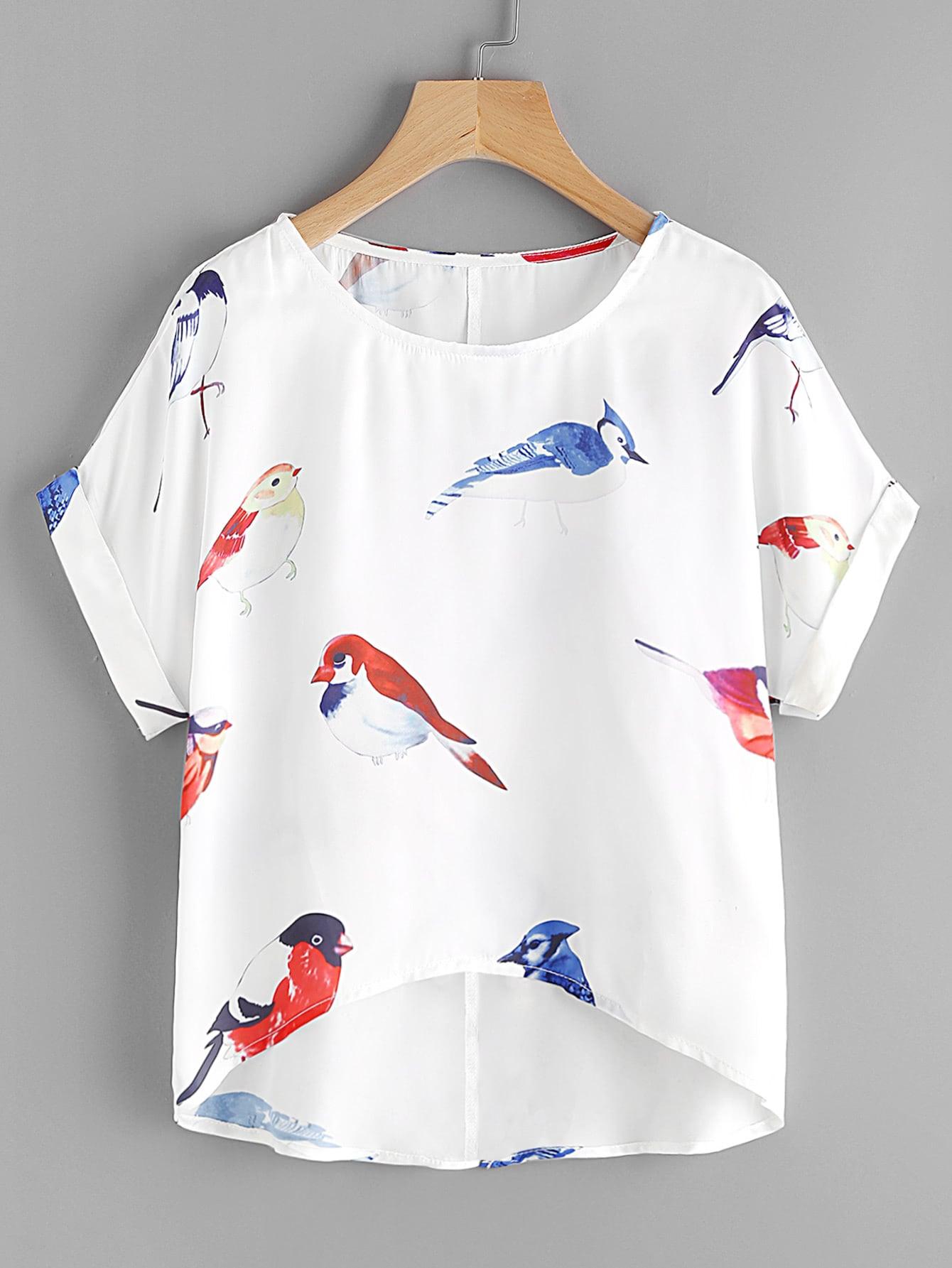 Random Birds Print Cuffed Dip Hem Top boho print dip hem chiffon top