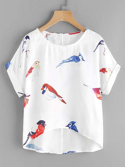 Random Birds Print Cuffed Dip Hem Top