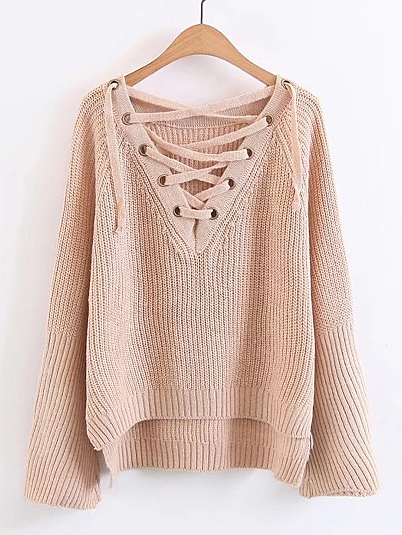 Asymmetrischer Pullover mit Öse, Band und V-Ausschnitt
