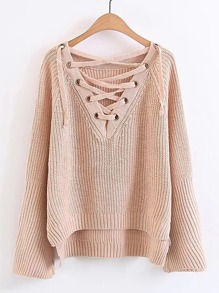 Eyelet Lace Up V Neck High Low Sweater