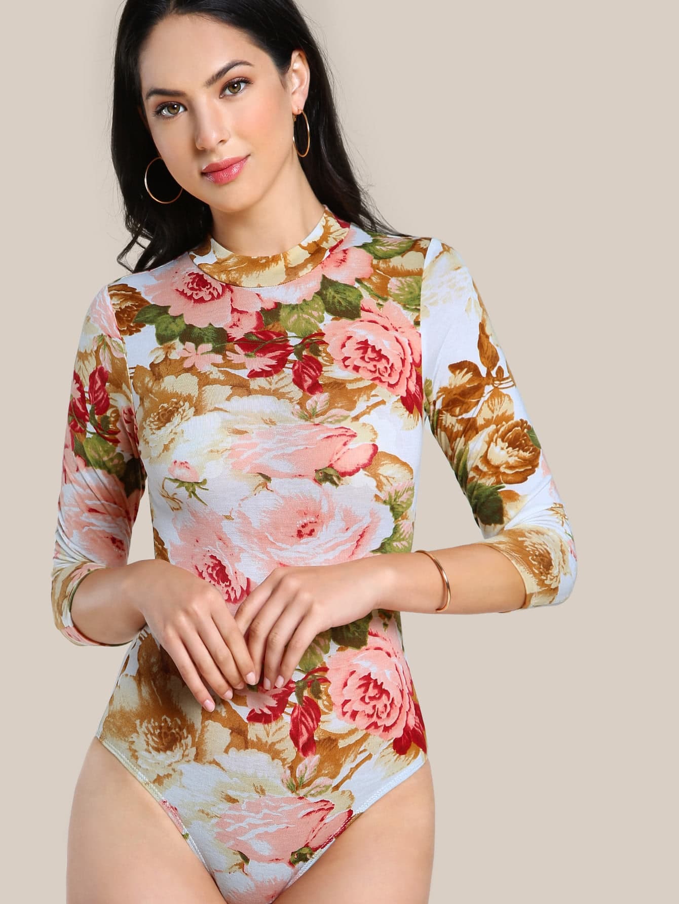 Mock Neck Flower Print Bodysuit