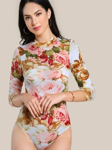 Mock Neck Flower Print Bodysuit