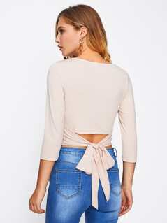 Bow Belt Back Form Fitting Crop Tee