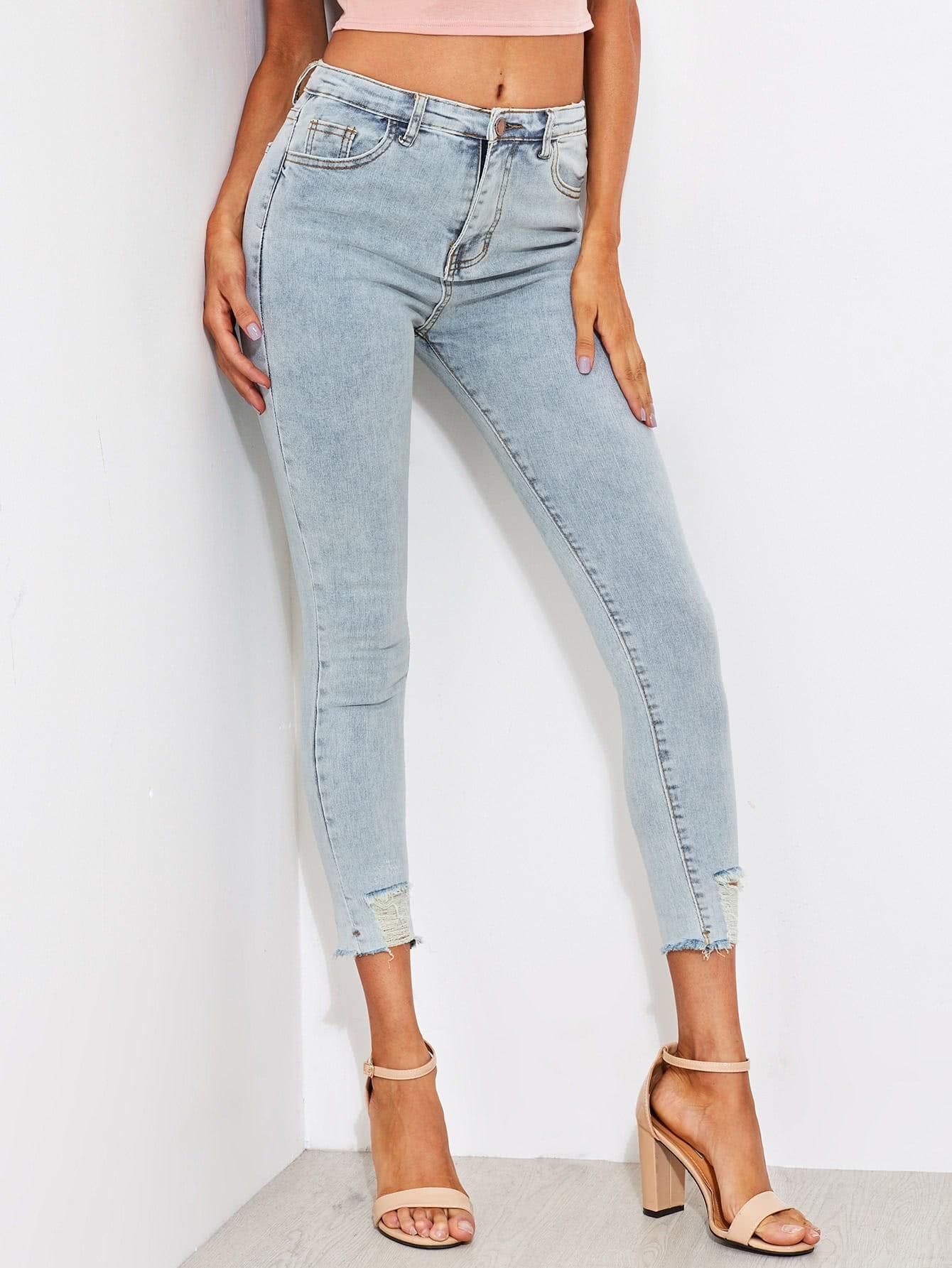 Faded Wash Frayed Hem Skinny Jeans destroy wash frayed harem jeans