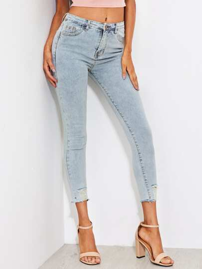 Faded Wash Frayed Hem Skinny Jeans