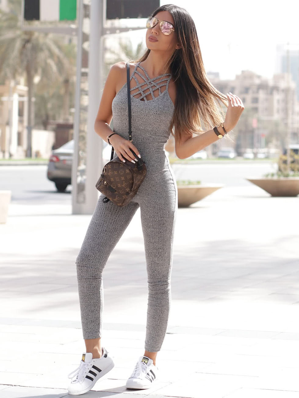 Grey Marled Ribbed Knit Cage Neck Skinny Jumpsuit jumpsuit161112701