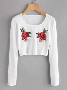T-shirt con applique di rosa