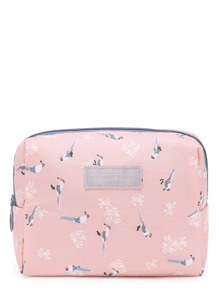 Bird Print Accessory Pouch
