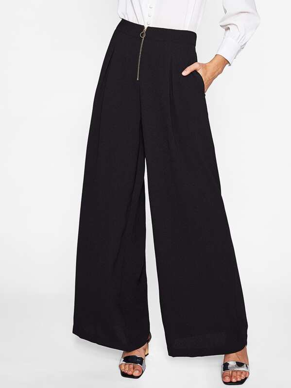 Exposed Zip Front Fold Pleat Palazzo Pants, Maria K