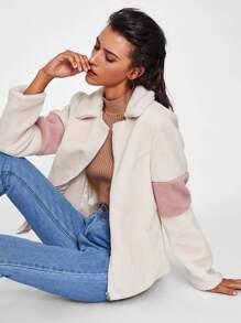 Contrast Elbow Fuzzy Jacket