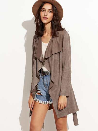 Brown Suede Waterfall Wrap Coat