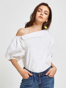 Fold Over Oblique Shoulder Lantern Sleeve Blouse