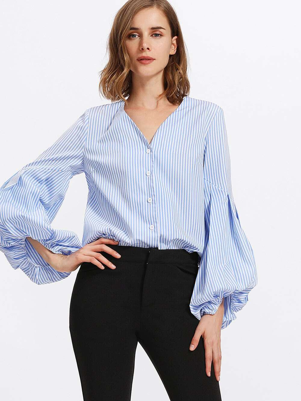 Pleated Exaggerate Lantern Sleeve Striped Blouse vintage lantern sleeve plaided ruffle pleated blouse