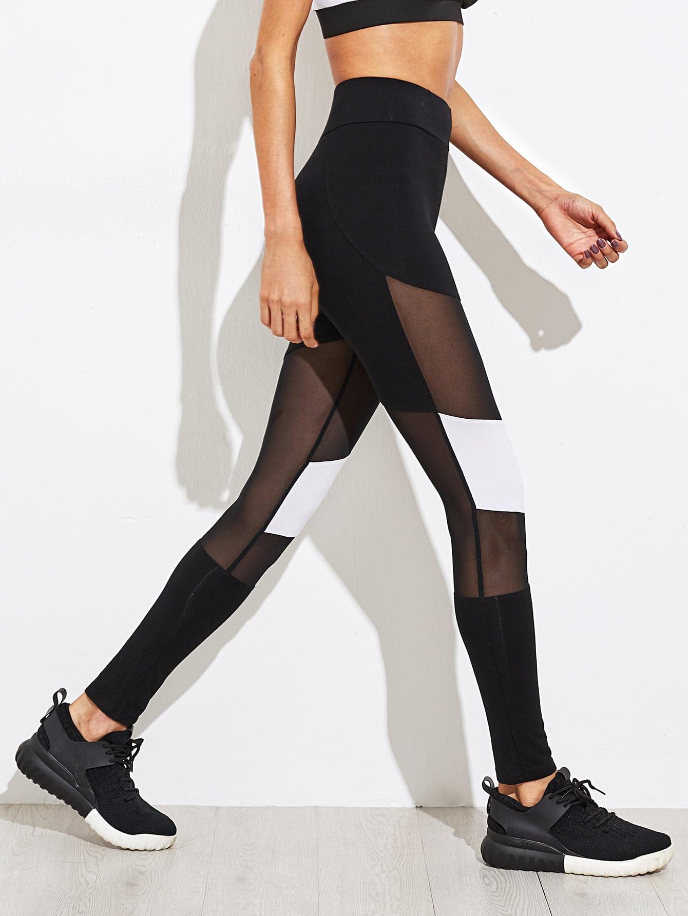 Mesh Insert Color Block Leggings