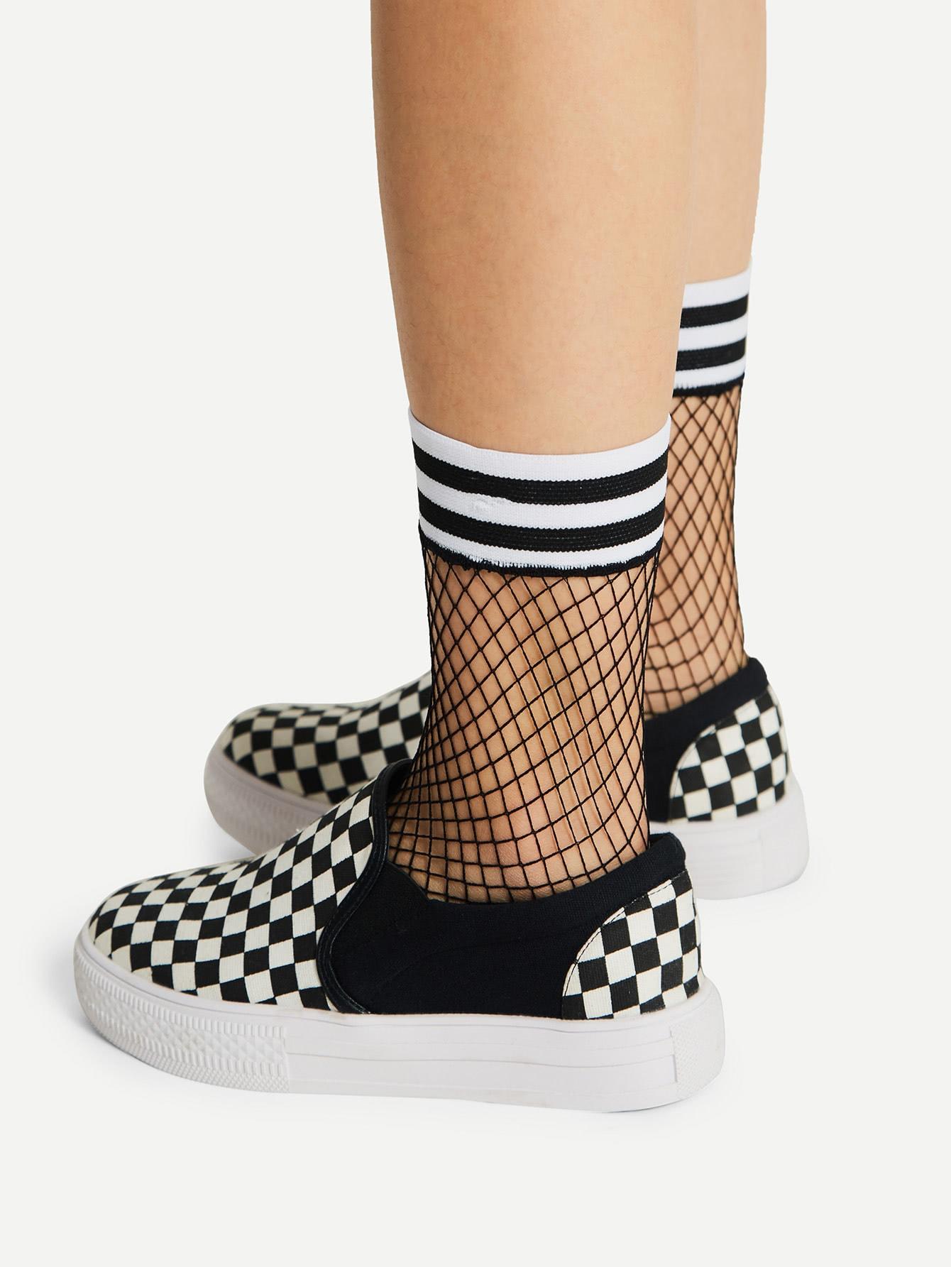 Striped Trim Fishnet Ankle Socks fishnet ankle socks