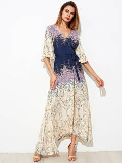 Flower Print Kimono Sleeve Surplice Wrap Dress