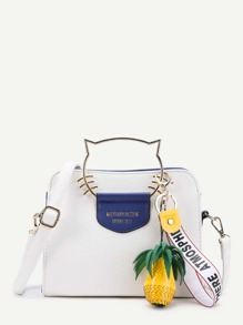 Cat Ear Handle PU Shoulder Bag With Pineapple Detail
