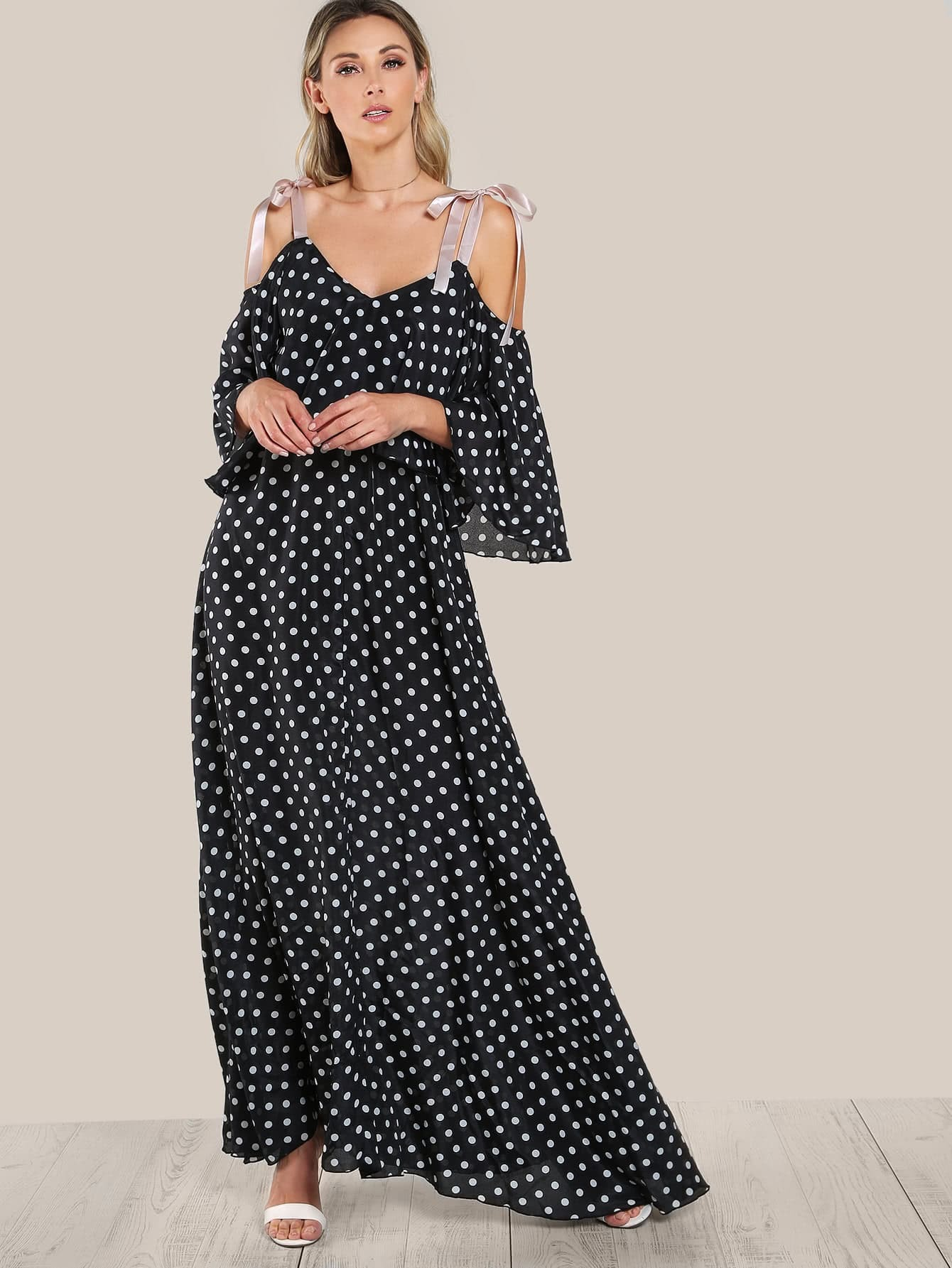Ribbon Tie Shoulder Double Layer Polka Dot Dress
