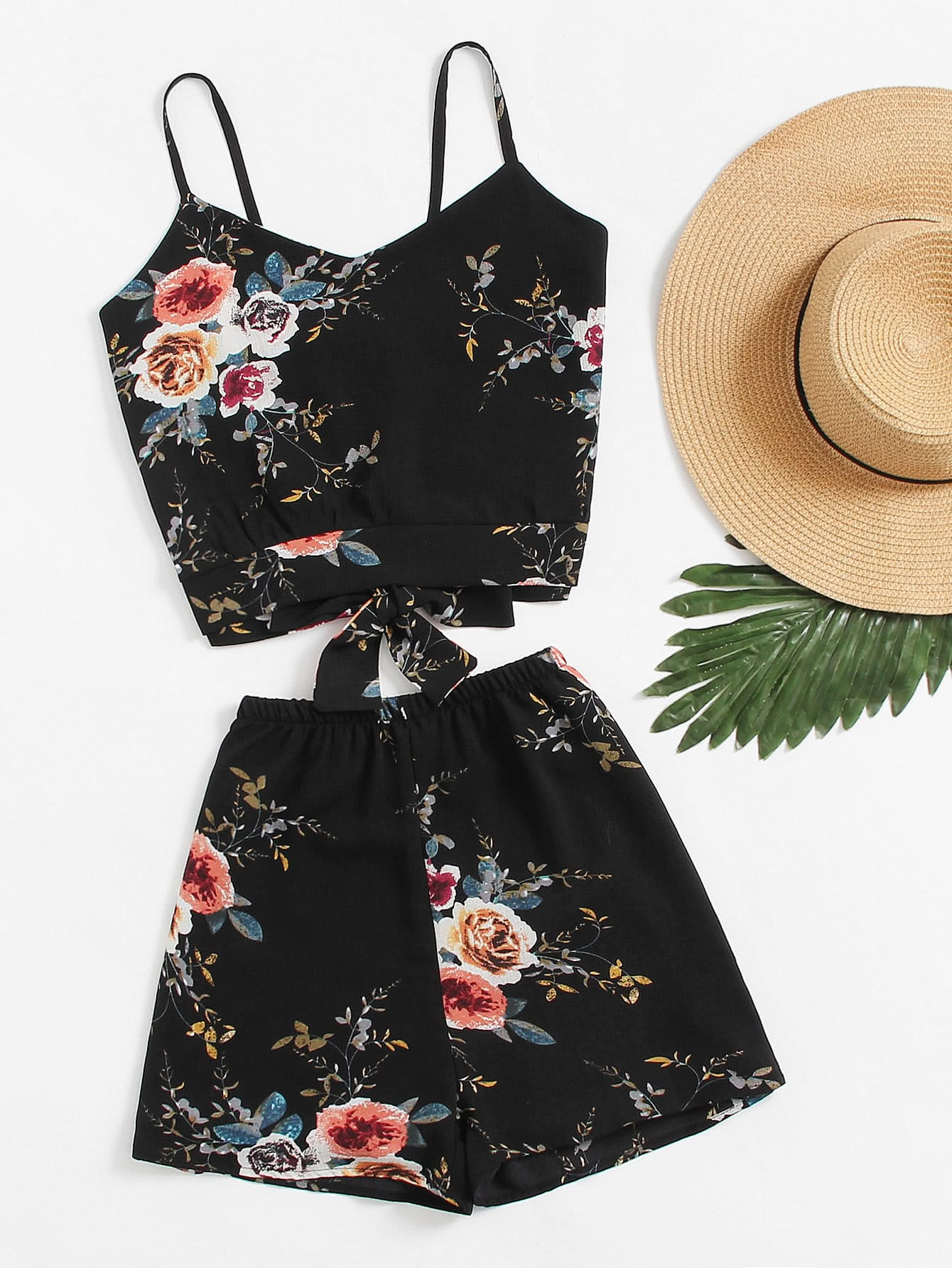 Floral Print Random Split Bow Tie Back Cami Top With Shorts lace panel criss cross bow tie back cami top with florals shorts