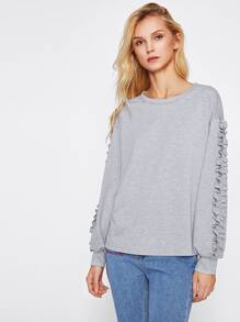 Drop Shoulder Frill Embellished Sleeve Pullover