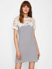 Guipure Lace Shoulder Striped Tee Dress