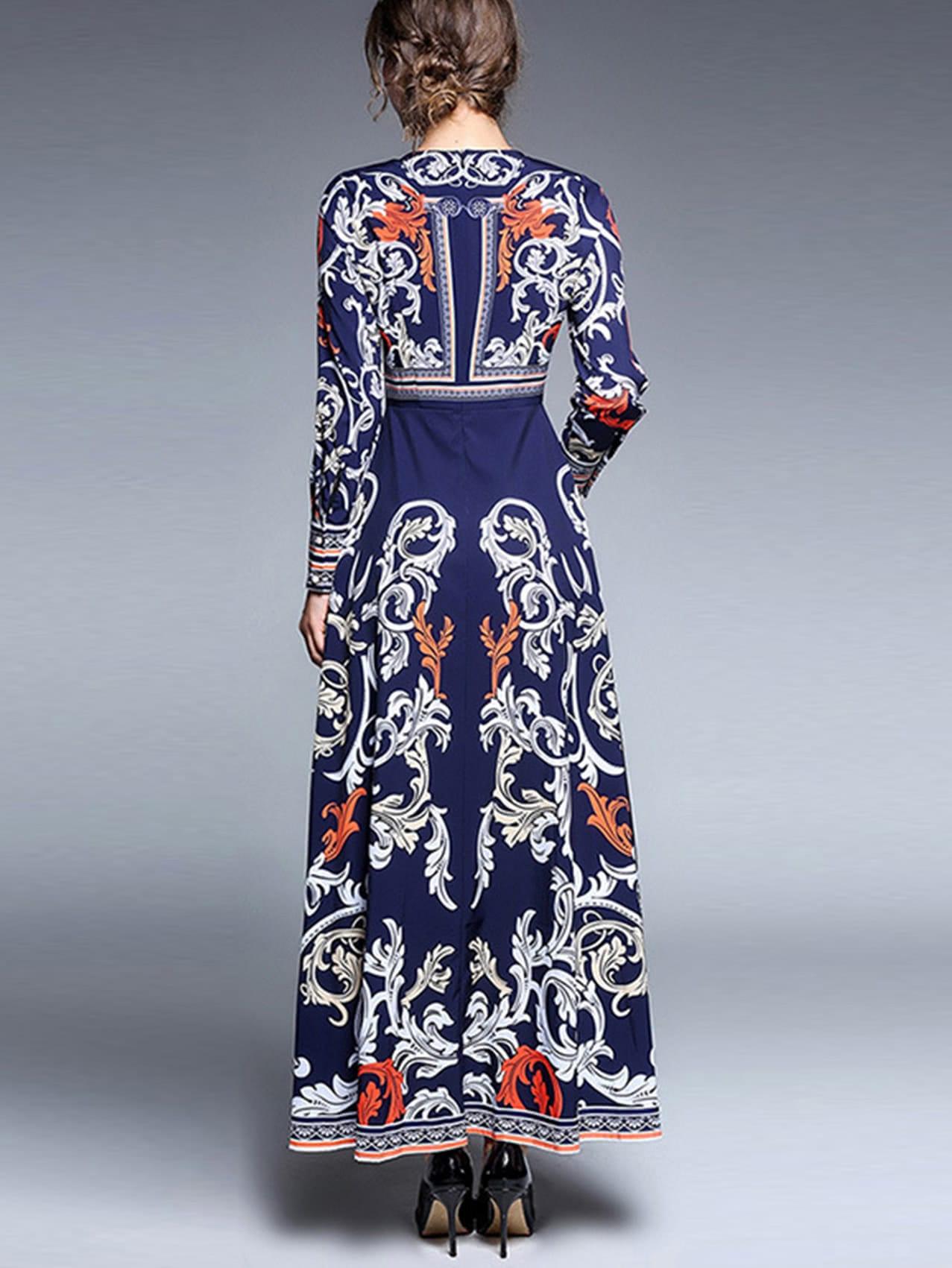 Strassschmuck  Kleid mit Porzellanmuster und Strass Schmuck- German SheIn(Sheinside)