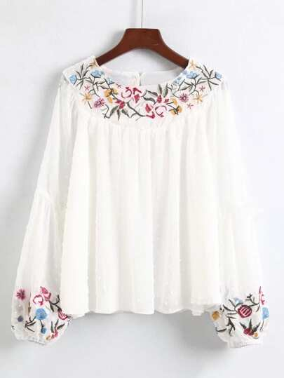 Embroidered Detail Lantern Sleeve Blouse