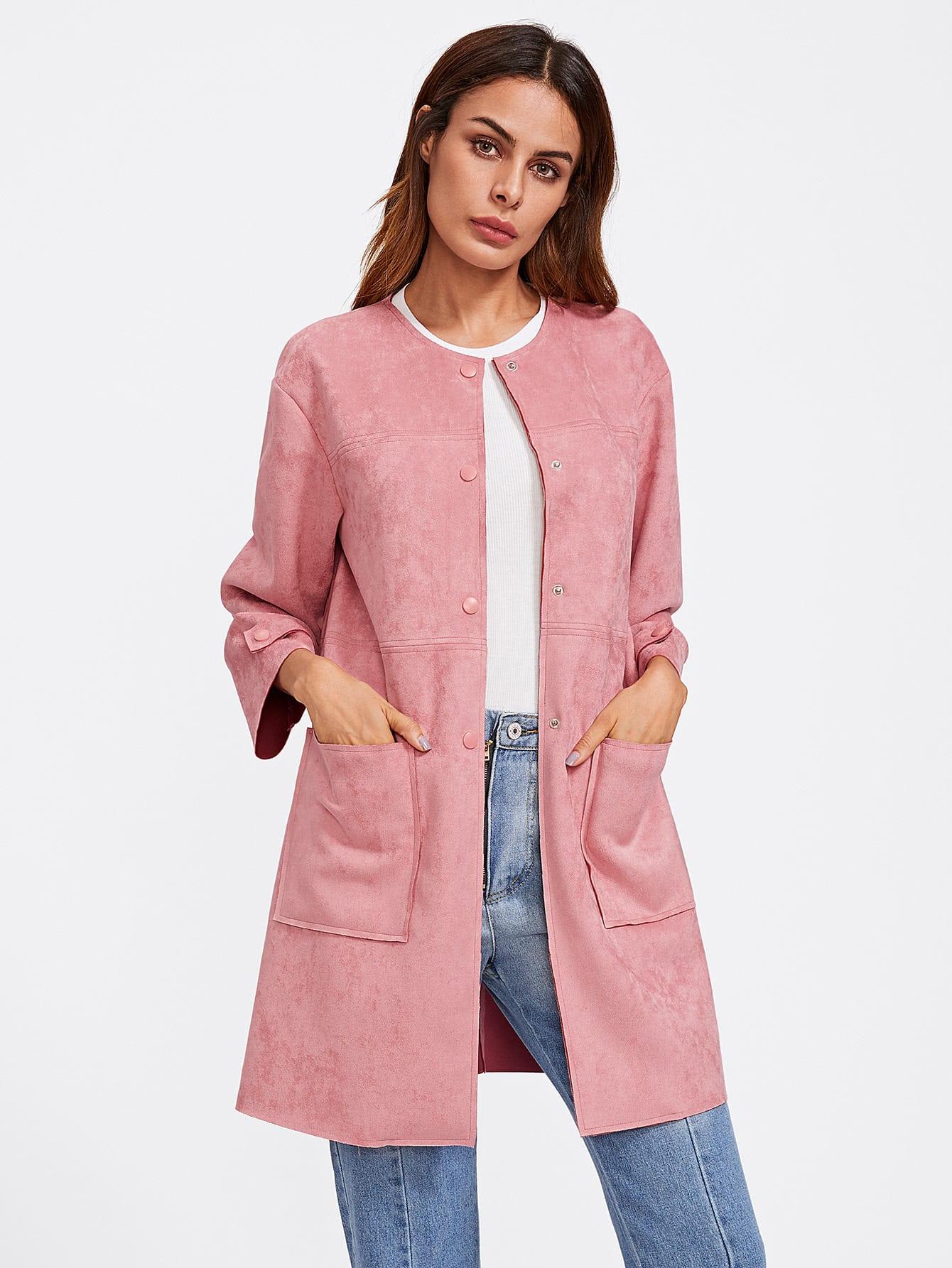 Patch Pocket Front Suede Coat