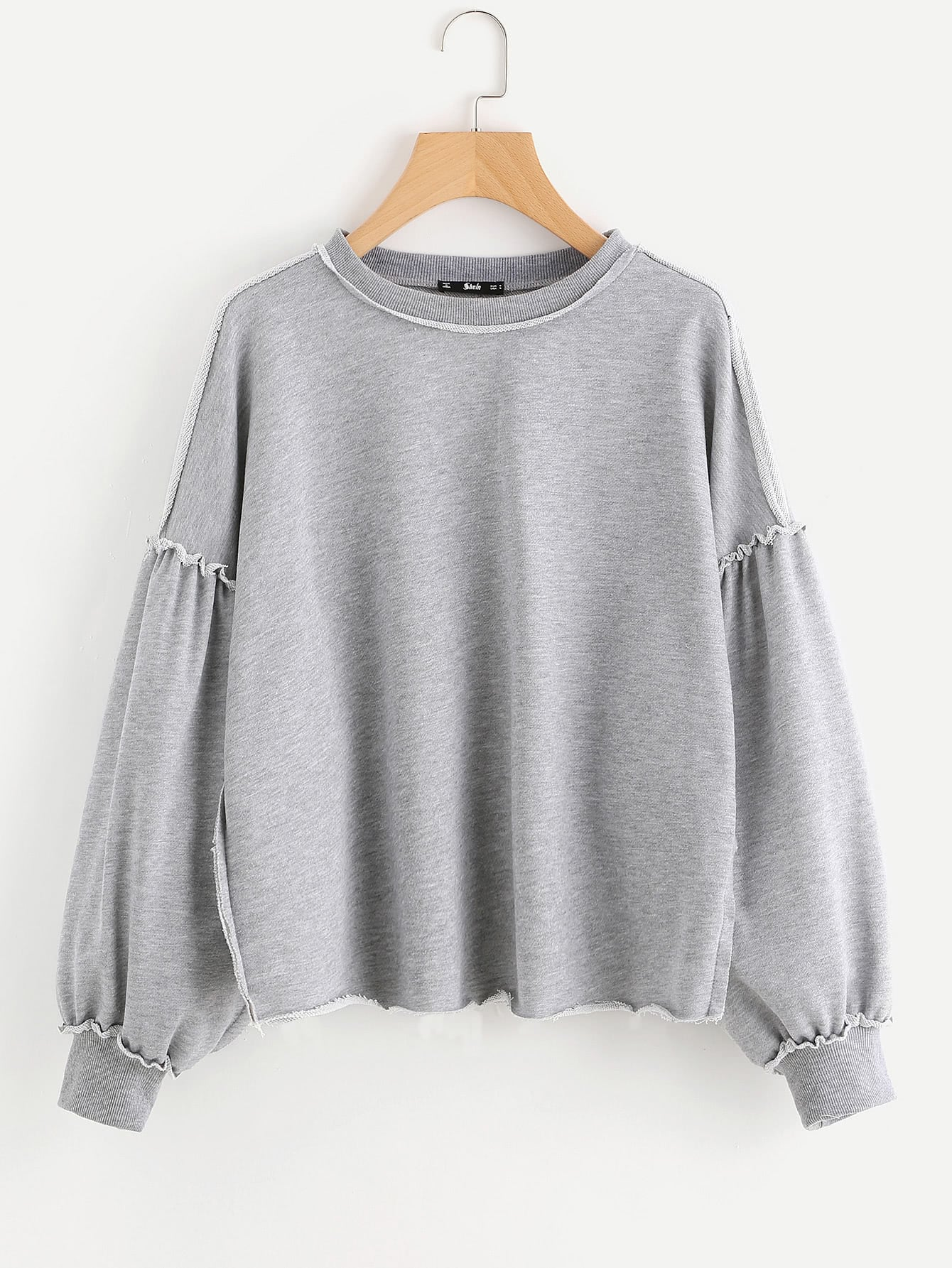 Raw Edge Drop Shoulder Heather Knit Sweatshirt drop shoulder crop sweatshirt