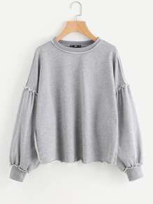 Raw Edge Drop Shoulder Heather Knit Sweatshirt