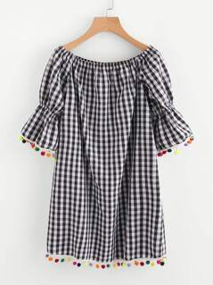 Pom Pom Trim Fluted Sleeve Gingham Bardot Dress