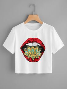 Camiseta corta con estampado