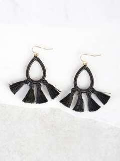 Loop and Tassel Earrings BLACK