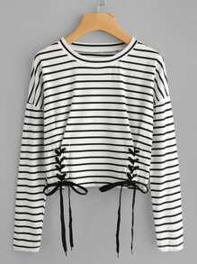 T-Shirt mit Öse,Schnüren und Streifen