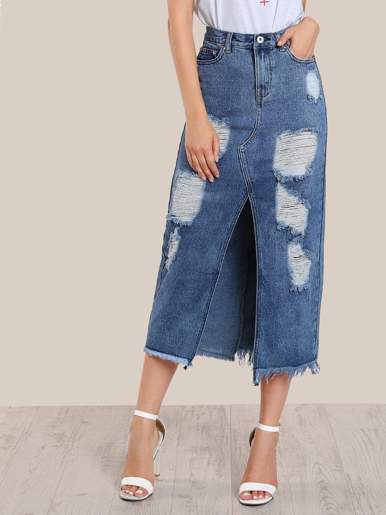 floor length distressed skirt denim makemechic